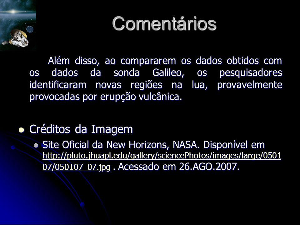Comentários Além disso, ao compararem os dados obtidos com os dados da sonda Galileo, os pesquisadores identificaram novas regiões na lua, provavelmente provocadas por erupção vulcânica.