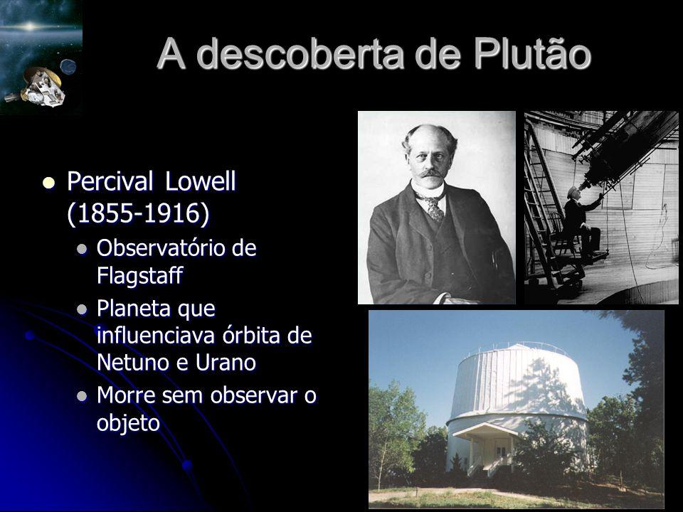 A descoberta de Plutão Percival Lowell (1855-1916) Percival Lowell (1855-1916) Observatório de Flagstaff Observatório de Flagstaff Planeta que influenciava órbita de Netuno e Urano Planeta que influenciava órbita de Netuno e Urano Morre sem observar o objeto Morre sem observar o objeto