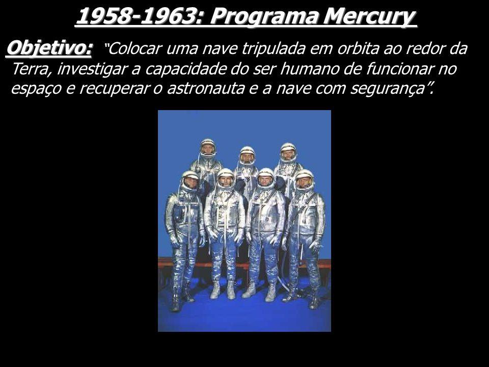 1958-1963: Programa Mercury Objetivo: Objetivo: Colocar uma nave tripulada em orbita ao redor da Terra, investigar a capacidade do ser humano de funci