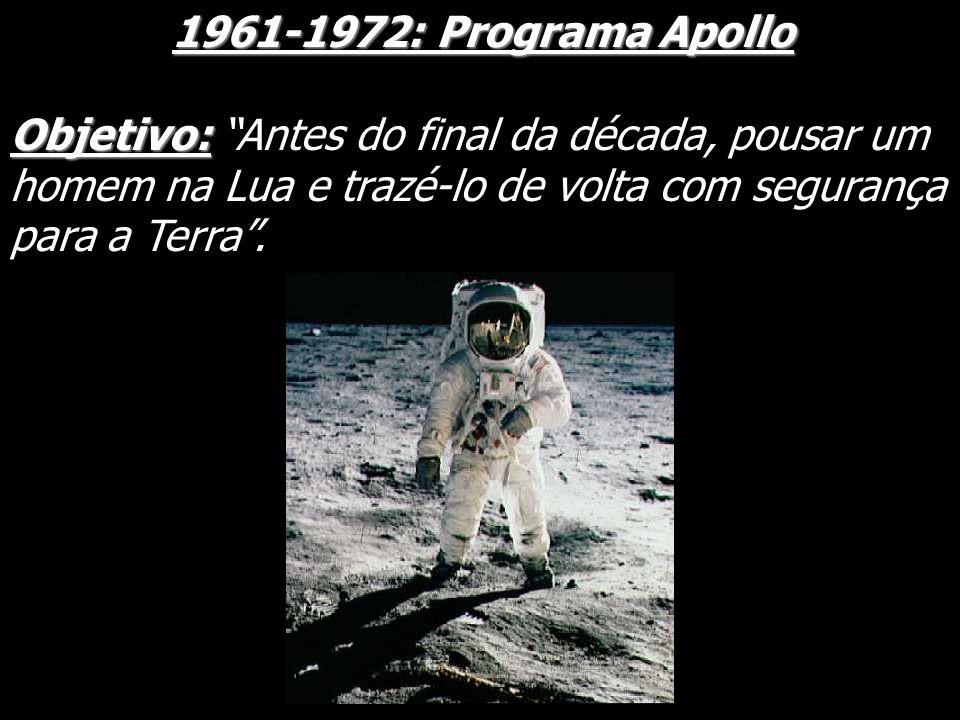 1961-1972: Programa Apollo 1961-1972: Programa Apollo Objetivo: Objetivo: Antes do final da década, pousar um homem na Lua e trazé-lo de volta com seg