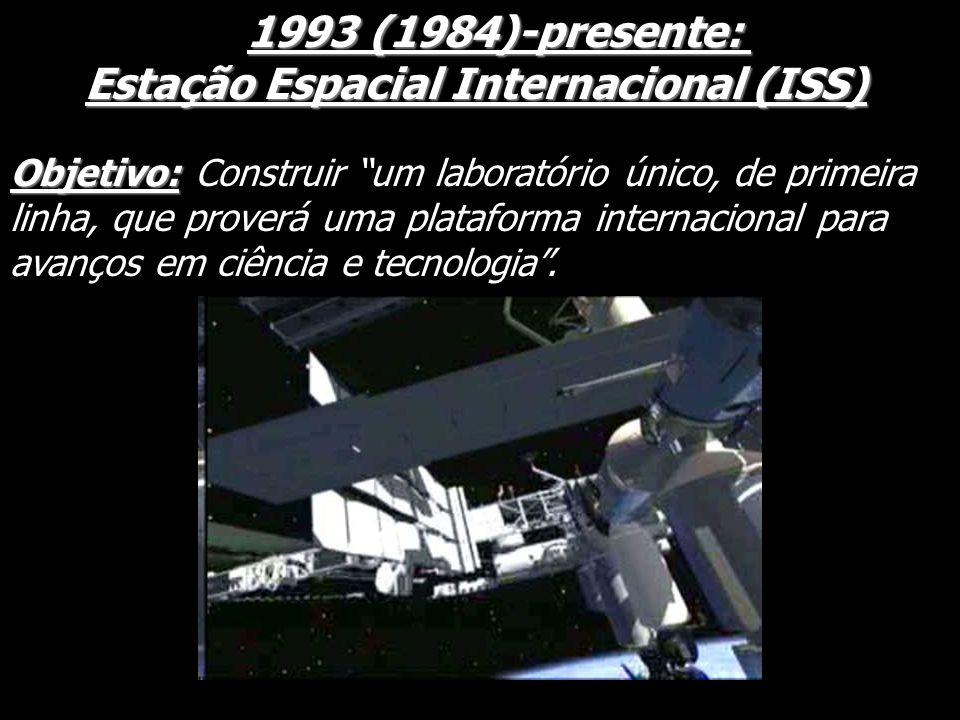 1993 (1984)-presente: 1993 (1984)-presente: Estação Espacial Internacional (ISS) Estação Espacial Internacional (ISS) Objetivo: Objetivo: Construir um