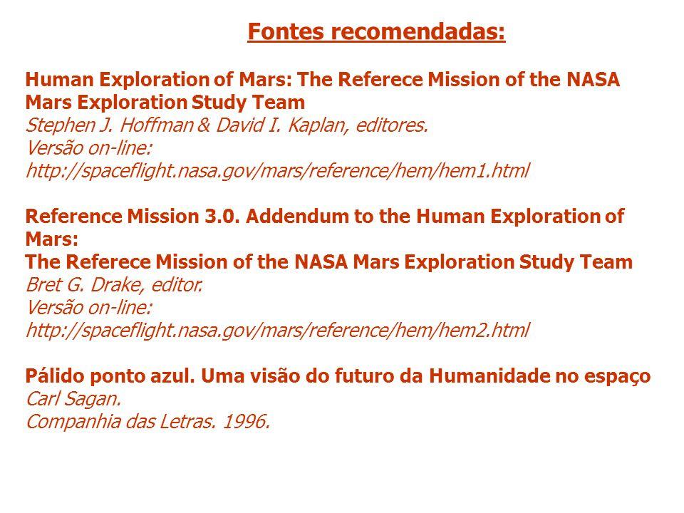 Fontes recomendadas: Human Exploration of Mars: The Referece Mission of the NASA Mars Exploration Study Team Stephen J. Hoffman & David I. Kaplan, edi