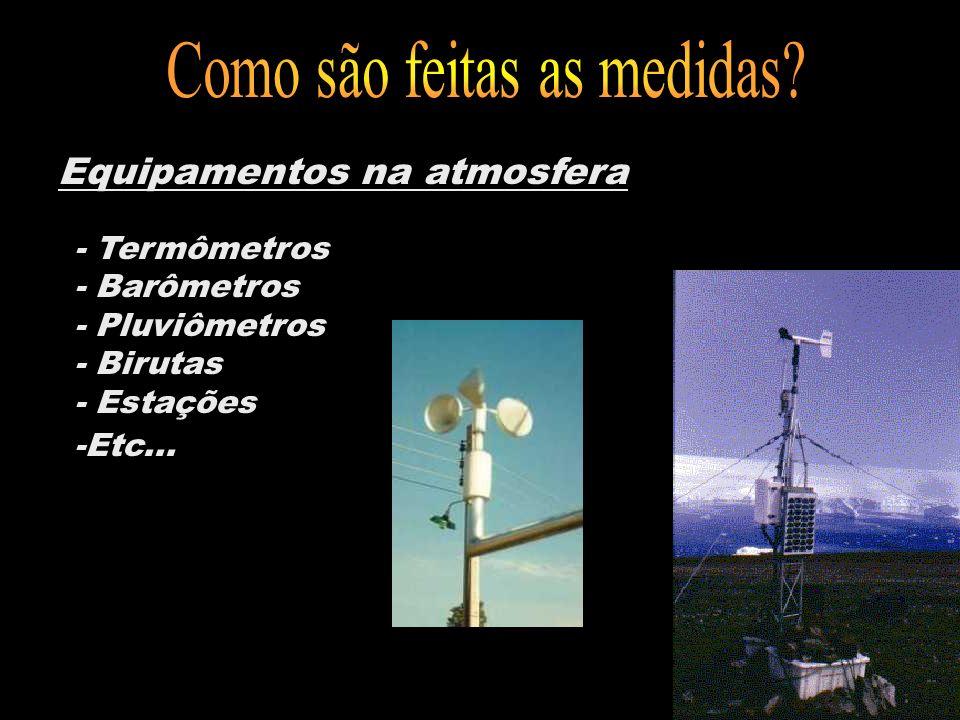 Equipamentos na atmosfera - Termômetros - Barômetros - Pluviômetros - Birutas - Estações -Etc...