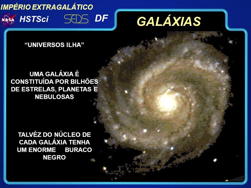 IMPÉRIO EXTRAGALÁTICO DF HSTSci GALÁXIAS UMA GALÁXIA É CONSTITUÍDA POR BILHÕES DE ESTRELAS, PLANETAS E NEBULOSAS TALVÉZ DO NÚCLEO DE CADA GALÁXIA TENH