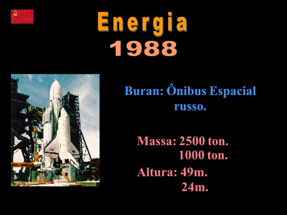 Massa: 2500 ton. 1000 ton. Altura: 49m. 24m. Buran: Ônibus Espacial russo.