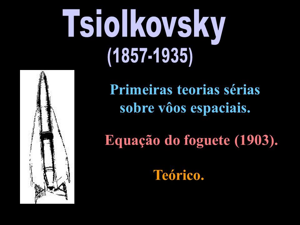 Primeiras teorias sérias sobre vôos espaciais. Equação do foguete (1903). Teórico.