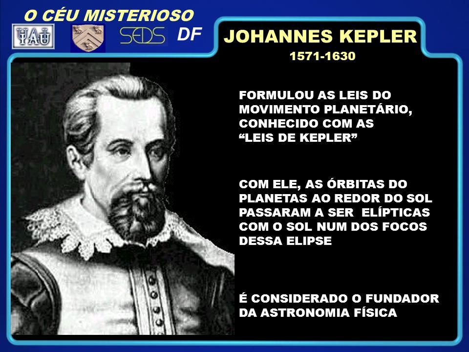O CÉU MISTERIOSO DF 1571-1630 FORMULOU AS LEIS DO MOVIMENTO PLANETÁRIO, CONHECIDO COM AS LEIS DE KEPLER COM ELE, AS ÓRBITAS DO PLANETAS AO REDOR DO SOL PASSARAM A SER ELÍPTICAS COM O SOL NUM DOS FOCOS DESSA ELIPSE É CONSIDERADO O FUNDADOR DA ASTRONOMIA FÍSICA JOHANNES KEPLER