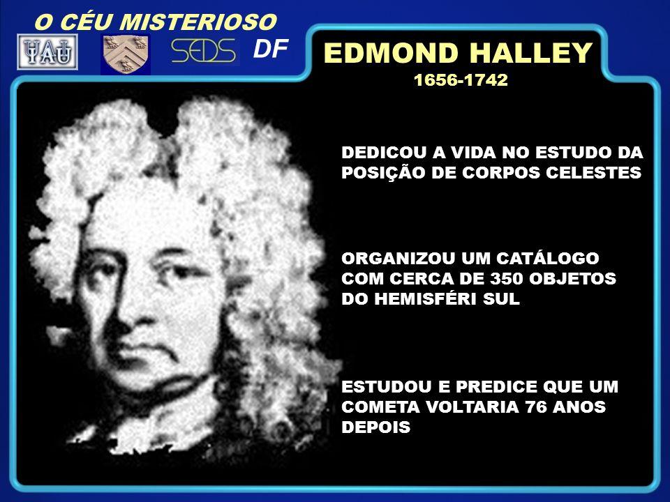 1656-1742 DEDICOU A VIDA NO ESTUDO DA POSIÇÃO DE CORPOS CELESTES ORGANIZOU UM CATÁLOGO COM CERCA DE 350 OBJETOS DO HEMISFÉRI SUL ESTUDOU E PREDICE QUE UM COMETA VOLTARIA 76 ANOS DEPOIS EDMOND HALLEY O CÉU MISTERIOSO DF