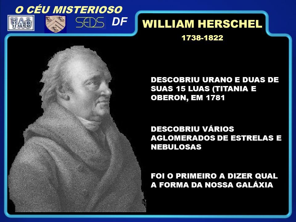 DESCOBRIU URANO E DUAS DE SUAS 15 LUAS (TITANIA E OBERON, EM 1781 1738-1822 FOI O PRIMEIRO A DIZER QUAL A FORMA DA NOSSA GALÁXIA DESCOBRIU VÁRIOS AGLOMERADOS DE ESTRELAS E NEBULOSAS WILLIAM HERSCHEL O CÉU MISTERIOSO DF