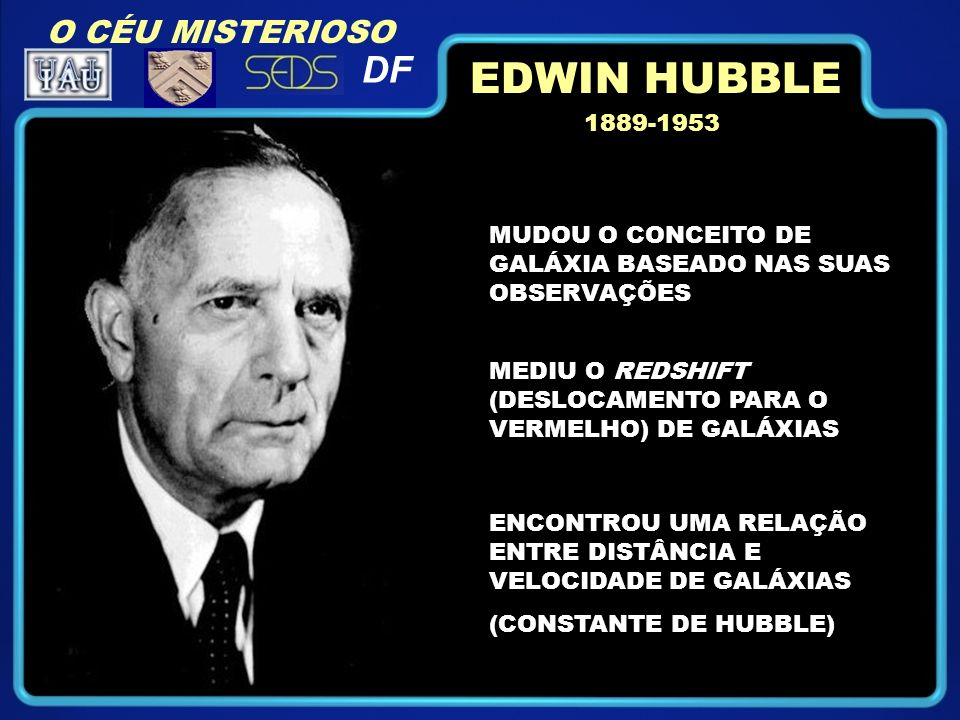 MUDOU O CONCEITO DE GALÁXIA BASEADO NAS SUAS OBSERVAÇÕES 1889-1953 MEDIU O REDSHIFT (DESLOCAMENTO PARA O VERMELHO) DE GALÁXIAS ENCONTROU UMA RELAÇÃO ENTRE DISTÂNCIA E VELOCIDADE DE GALÁXIAS (CONSTANTE DE HUBBLE) EDWIN HUBBLE O CÉU MISTERIOSO DF