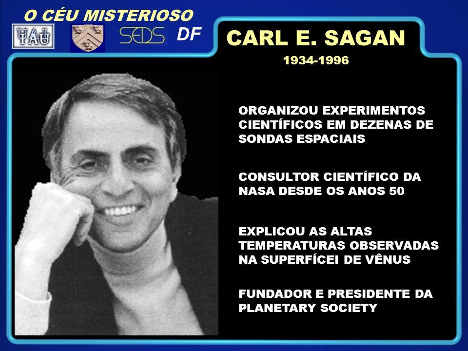 O CÉU MISTERIOSO DF ORGANIZOU EXPERIMENTOS CIENTÍFICOS EM DEZENAS DE SONDAS ESPACIAIS CONSULTOR CIENTÍFICO DA NASA DESDE OS ANOS 50 EXPLICOU AS ALTAS TEMPERATURAS OBSERVADAS NA SUPERFÍCEI DE VÊNUS FUNDADOR E PRESIDENTE DA PLANETARY SOCIETY 1934-1996 CARL E.