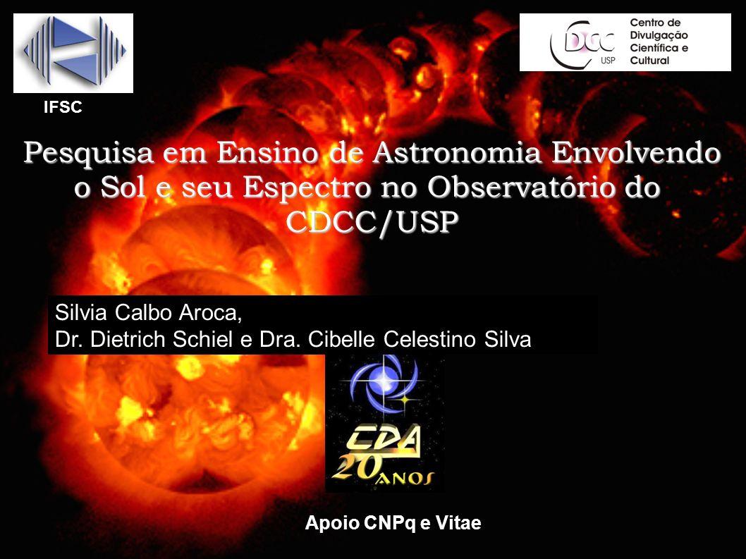 Pesquisa em Ensino de Astronomia Envolvendo o Sol e seu Espectro no Observatório do CDCC/USP IFSC Apoio CNPq e Vitae Silvia Calbo Aroca, Dr. Dietrich