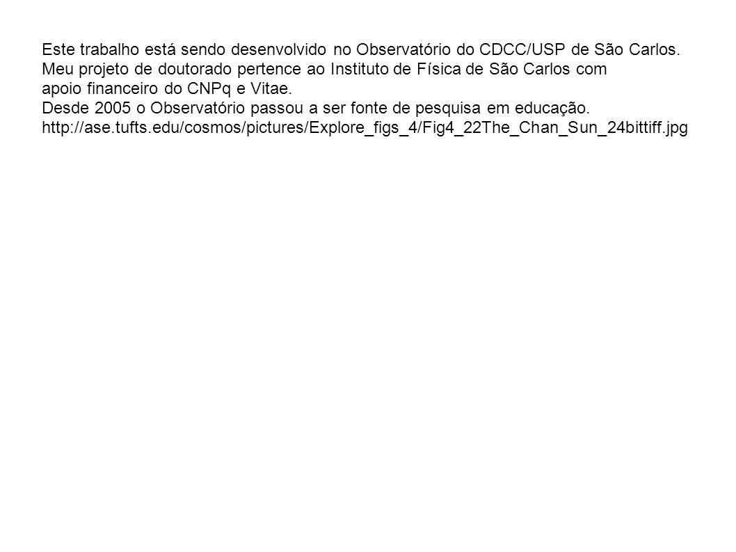 Este trabalho está sendo desenvolvido no Observatório do CDCC/USP de São Carlos. Meu projeto de doutorado pertence ao Instituto de Física de São Carlo