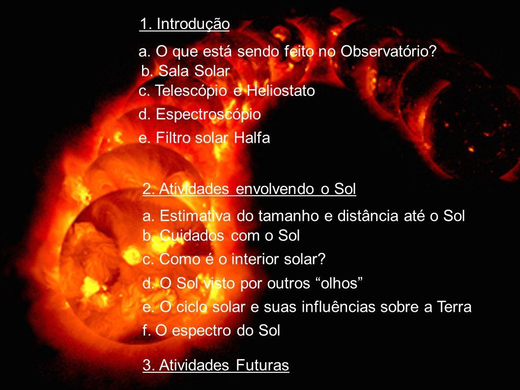 1. Introdução a. O que está sendo feito no Observatório? b. Sala Solar c. Telescópio e Heliostato d. Espectroscópio e. Filtro solar Halfa 2. Atividade