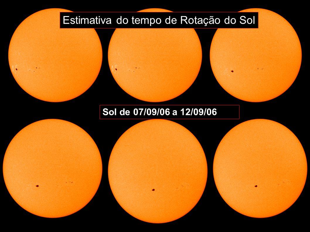 Sol de 07/09/06 a 12/09/06 Estimativa do tempo de Rotação do Sol