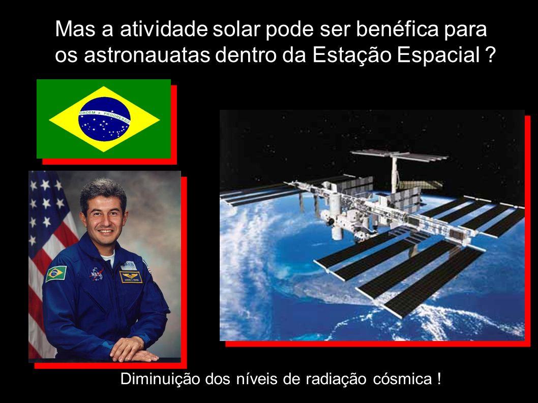Mas a atividade solar pode ser benéfica para os astronauatas dentro da Estação Espacial ? Diminuição dos níveis de radiação cósmica !