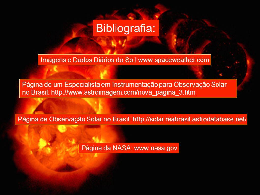 Imagens e Dados Diários do So:l www.spaceweather.com Página de um Especialista em Instrumentação para Observação Solar no Brasil: http://www.astroimag