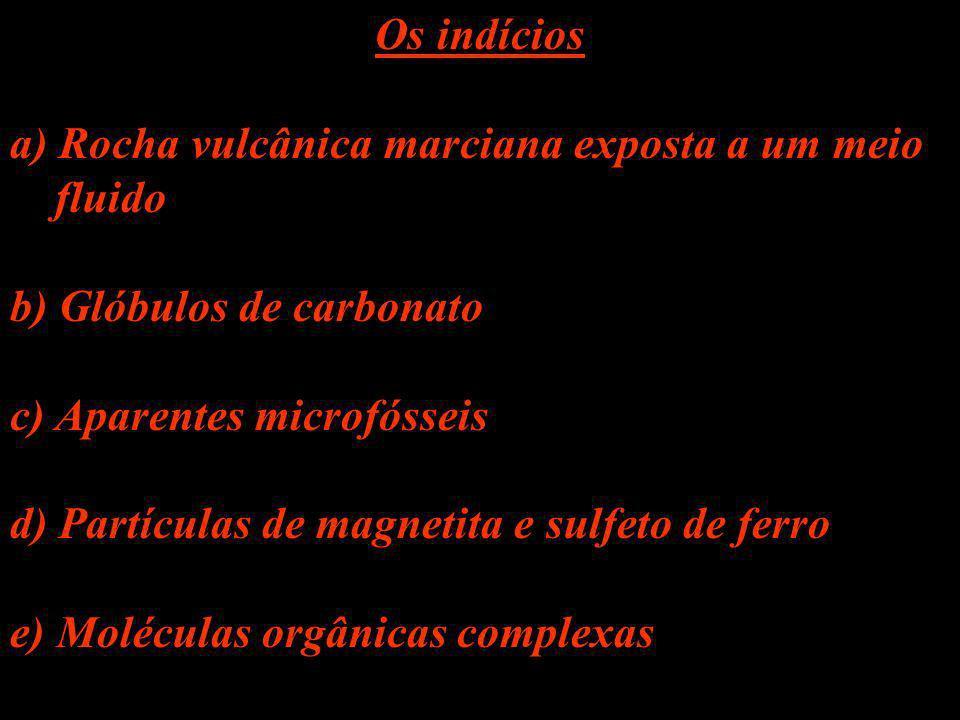Os indícios a) Rocha vulcânica marciana exposta a um meio fluido b) Glóbulos de carbonato c) Aparentes microfósseis d) Partículas de magnetita e sulfe