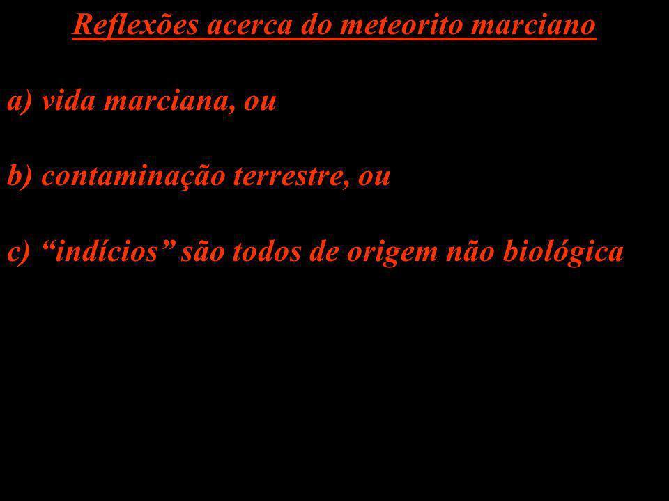 Reflexões acerca do meteorito marciano a) vida marciana, ou b) contaminação terrestre, ou c) indícios são todos de origem não biológica