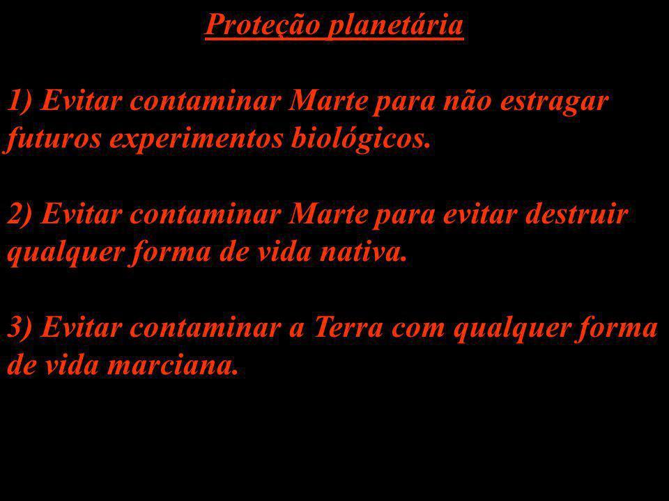 Proteção planetária 1) Evitar contaminar Marte para não estragar futuros experimentos biológicos. 2) Evitar contaminar Marte para evitar destruir qual