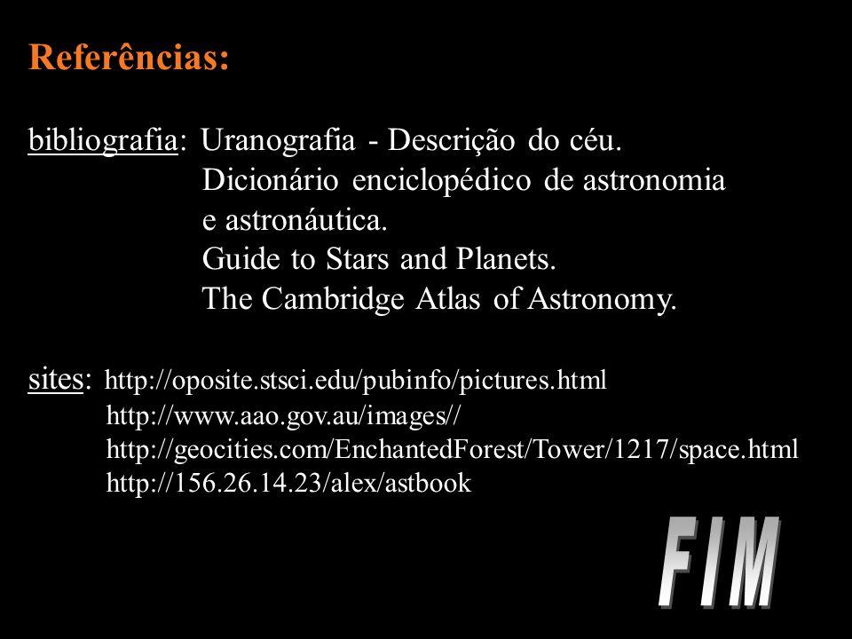 Referências: bibliografia: Uranografia - Descrição do céu.