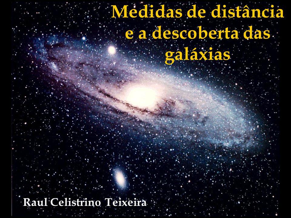 Medidas de distância e a descoberta das galáxias Título : Nome do Autor : Raul Celistrino Teixeira Data da Apresentação: 3/6/2006 Número de Espectadores no Audiório: Nome do Apresentador: Resumo/ABSTRACT: A palestra trata sobre como os astrônomos inferem a distância de nós até os objetos celestes, e aproveita tal discussão para comentar sobre a descoberta da existência de outras galáxias além da nossa e o impacto gerado por tal descoberta em nossa visão de Universo.