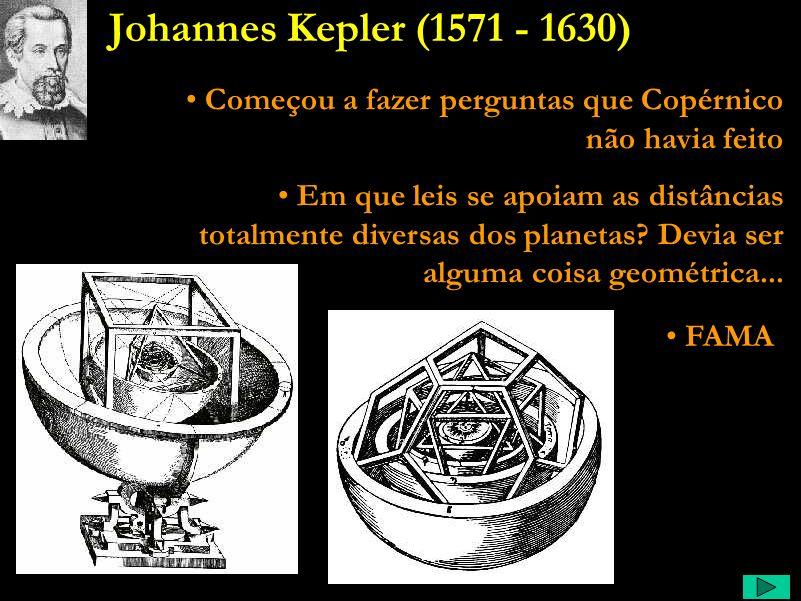 Kepler Comentário: Kepler era professor de matemática, apaixonado pela geometria. Ele achava que Deus havia inserido no nosso cérebro a mesma regulari