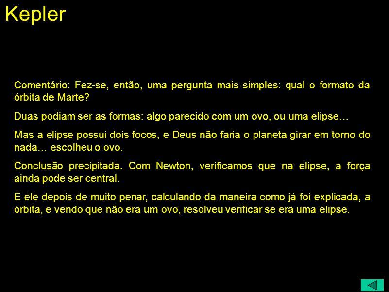 Johannes Kepler (1571 - 1630) Que forma tem a órbita? Elipse: dois focos - Deus não faria isso Ovo: um foco - conclusão precipitada Cães precipitados