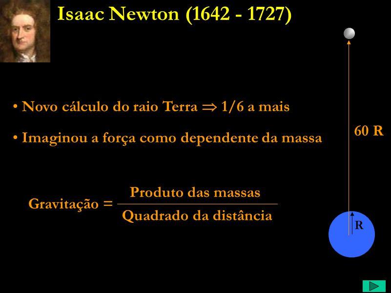 Newton Comentário: Das leis de kepler, e deduz qual deve ser a razão das forças entre a Terra e a Lua, e ao ver cair uma maçã, imagina que a mesma for