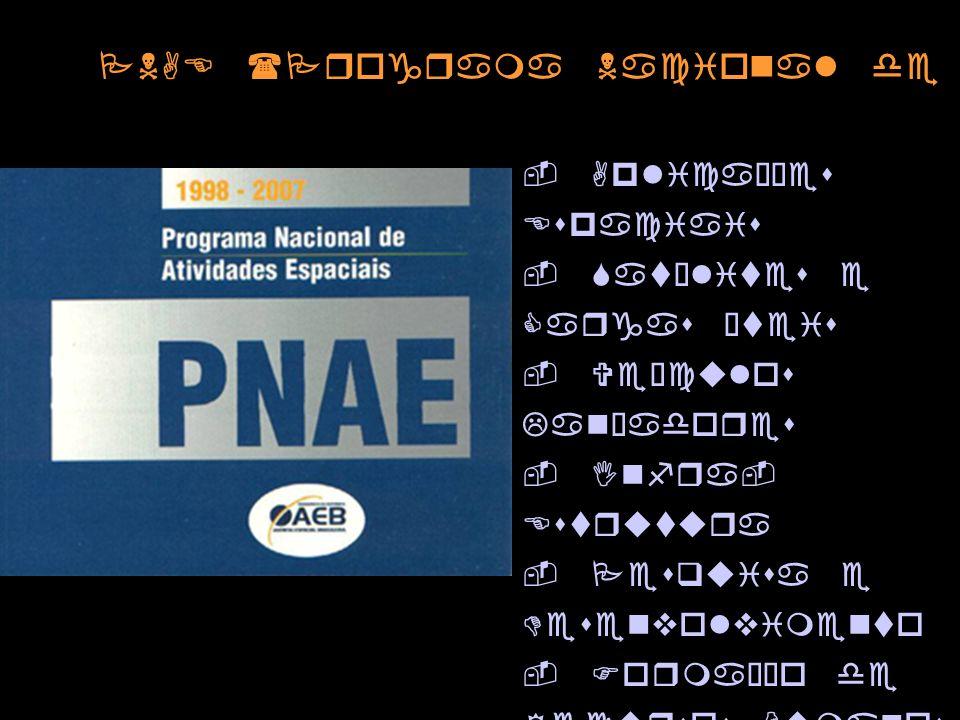 PNAE (Programa Nacional de Atividades Espaciais) - Aplicações Espaciais - Satélites e Cargas Úteis - Veículos Lançadores - Infra- Estrutura - Pesquisa e Desenvolvimento - Formação de Recursos Humanos - Desenvolvimento da Capacidade Industrial Nacional