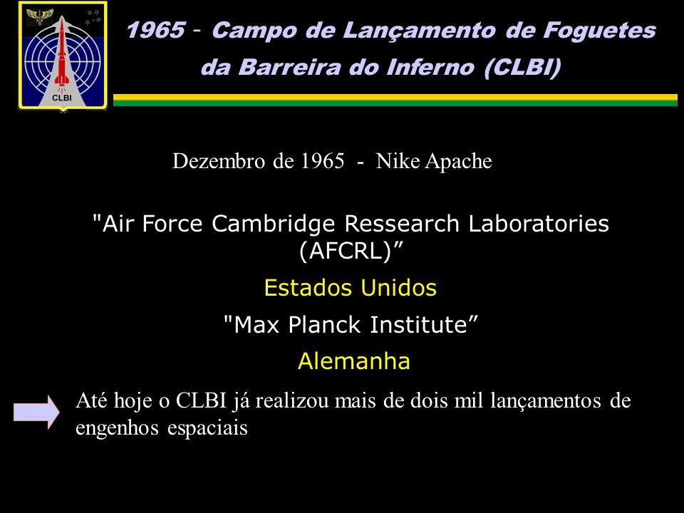 1965 - Campo de Lançamento de Foguetes da Barreira do Inferno (CLBI) Dezembro de 1965 - Nike Apache Air Force Cambridge Ressearch Laboratories (AFCRL) Estados Unidos Max Planck Institute Alemanha Até hoje o CLBI já realizou mais de dois mil lançamentos de engenhos espaciais