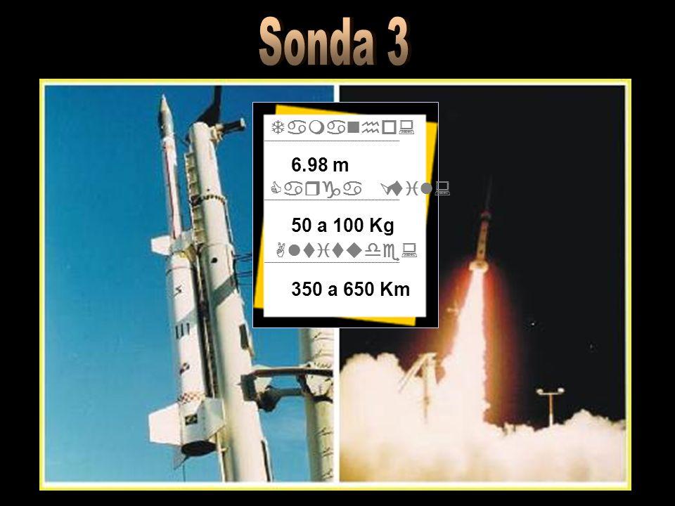 Tamanho: Carga Útil: Altitude: 6.98 m 50 a 100 Kg 350 a 650 Km