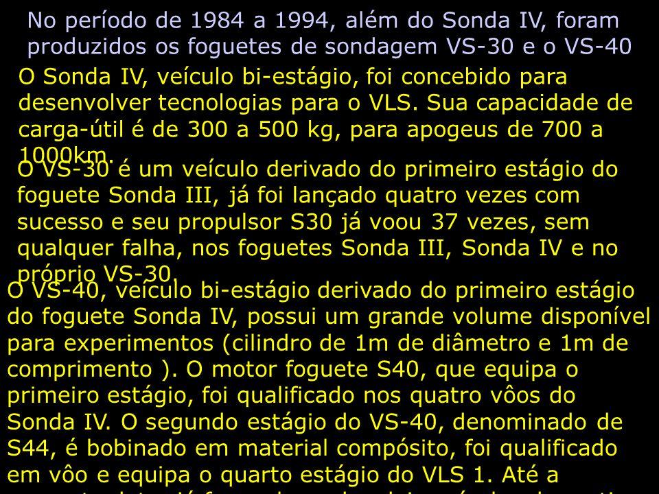 No período de 1984 a 1994, além do Sonda IV, foram produzidos os foguetes de sondagem VS-30 e o VS-40 O Sonda IV, veículo bi-estágio, foi concebido para desenvolver tecnologias para o VLS.