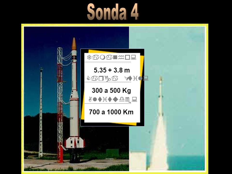 Tamanho: Carga Útil: Altitude: 5.35 + 3.8 m 300 a 500 Kg 700 a 1000 Km