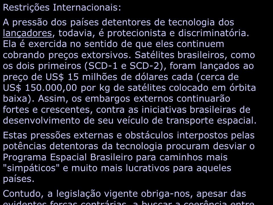 Restrições Internacionais: A pressão dos países detentores de tecnologia dos lançadores, todavia, é protecionista e discriminatória.