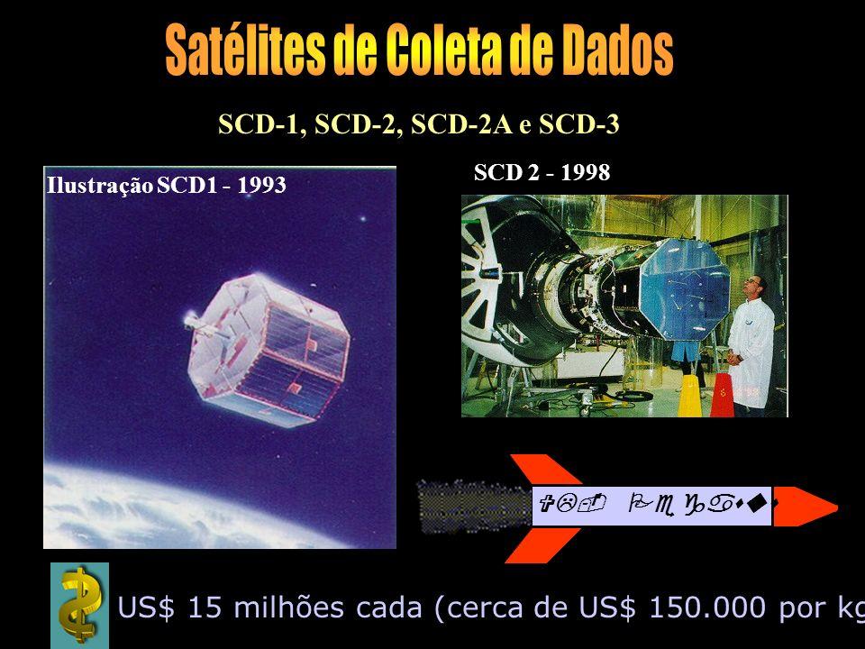 Ilustração SCD1 - 1993 SCD 2 - 1998 SCD-1, SCD-2, SCD-2A e SCD-3 VL- Pegasus US$ 15 milhões cada (cerca de US$ 150.000 por kg )