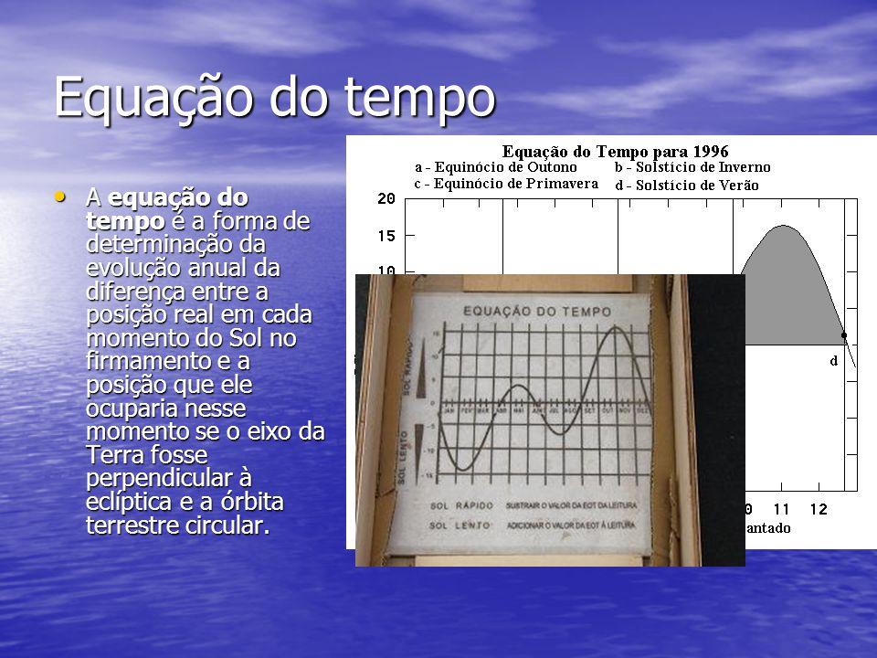 Equação do tempo A equação do tempo é a forma de determinação da evolução anual da diferença entre a posição real em cada momento do Sol no firmamento