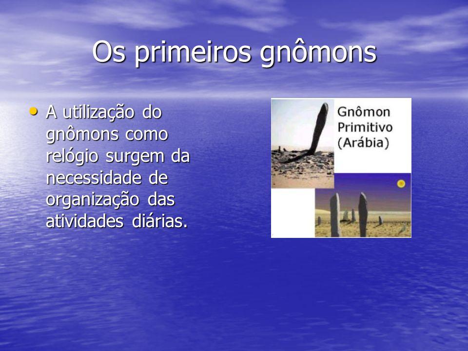 Os primeiros gnômons A utilização do gnômons como relógio surgem da necessidade de organização das atividades diárias. A utilização do gnômons como re