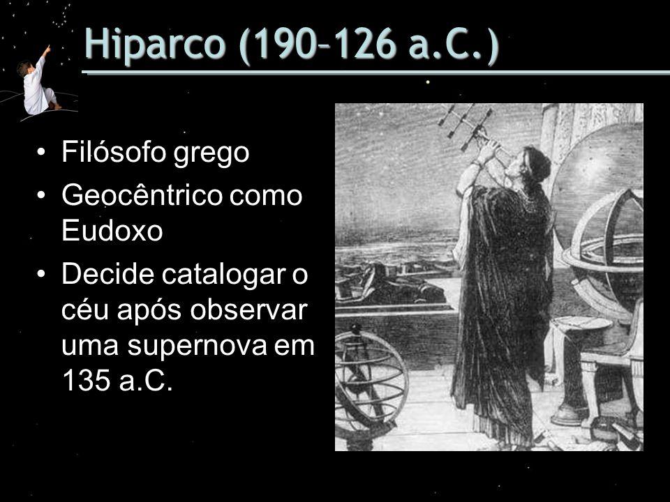 Hiparco (190–126 a.C.) Filósofo grego Geocêntrico como Eudoxo Decide catalogar o céu após observar uma supernova em 135 a.C.