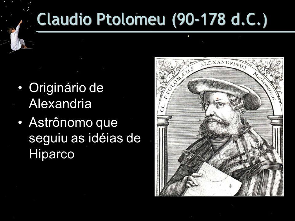 Claudio Ptolomeu (90-178 d.C.) Originário de Alexandria Astrônomo que seguiu as idéias de Hiparco