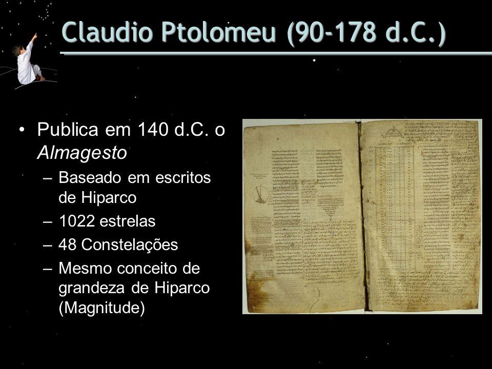 Claudio Ptolomeu (90-178 d.C.) Publica em 140 d.C. o Almagesto –Baseado em escritos de Hiparco –1022 estrelas –48 Constelações –Mesmo conceito de gran