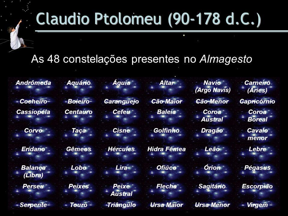 Claudio Ptolomeu (90-178 d.C.) As 48 constelações presentes no Almagesto AndrômedaAquárioÁguiaAltarNavio (Argo Navis) Carneiro (Áries) CocheiroBoieiro