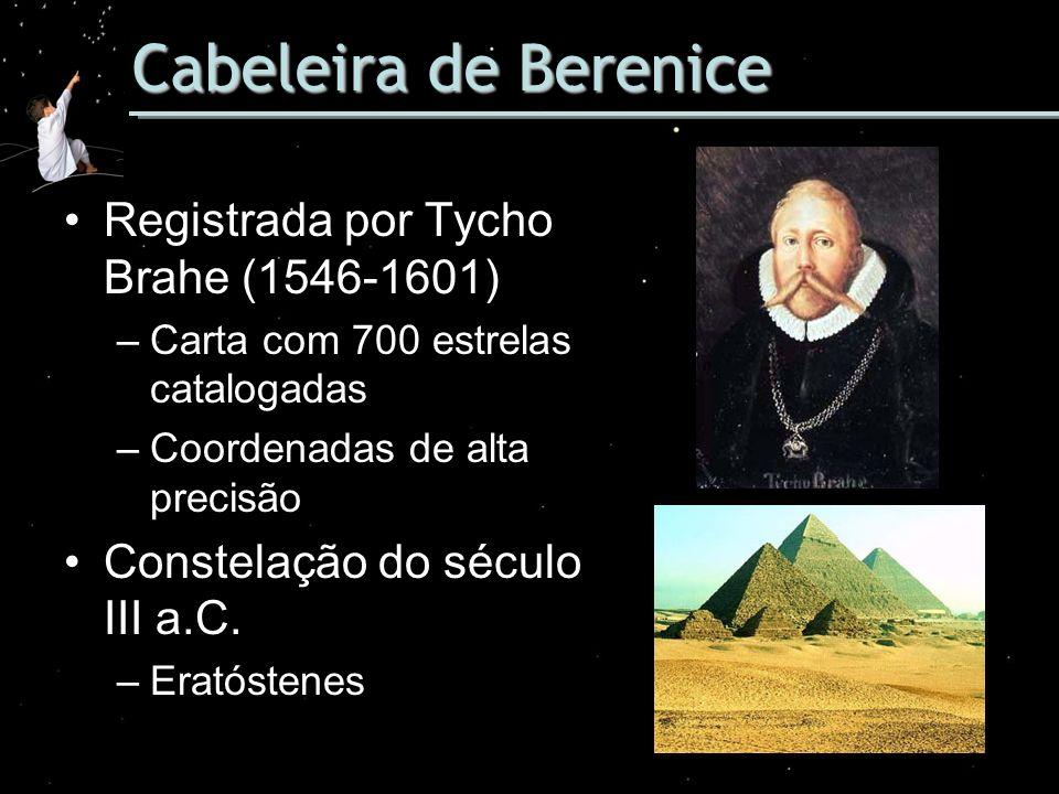 Cabeleira de Berenice Registrada por Tycho Brahe (1546-1601) –Carta com 700 estrelas catalogadas –Coordenadas de alta precisão Constelação do século I