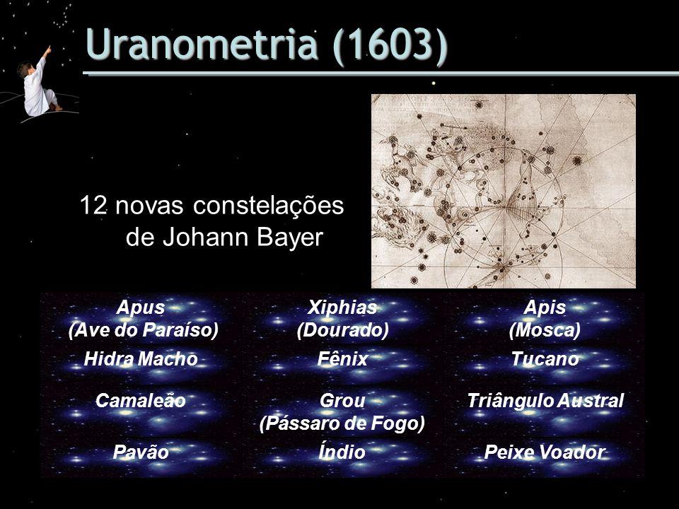 Uranometria (1603) 12 novas constelações de Johann Bayer Apus (Ave do Paraíso) Xiphias (Dourado) Apis (Mosca) Hidra MachoFênixTucano CamaleãoGrou (Pás
