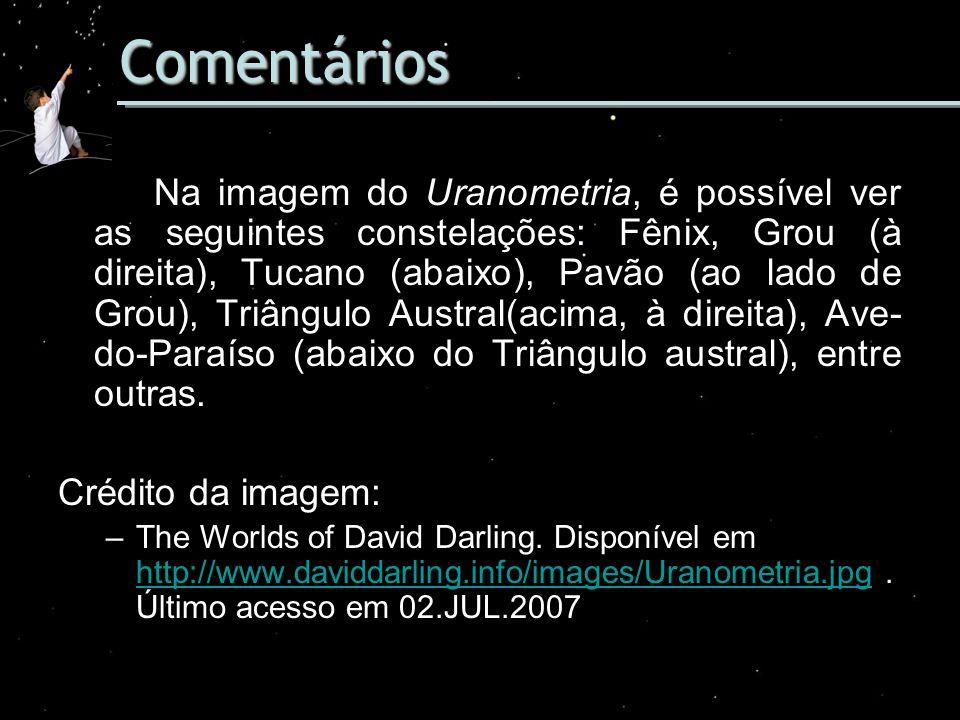 Comentários Na imagem do Uranometria, é possível ver as seguintes constelações: Fênix, Grou (à direita), Tucano (abaixo), Pavão (ao lado de Grou), Tri