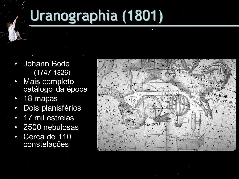 Uranographia (1801) Johann Bode –(1747-1826) Mais completo catálogo da época 18 mapas Dois planisférios 17 mil estrelas 2500 nebulosas Cerca de 110 co