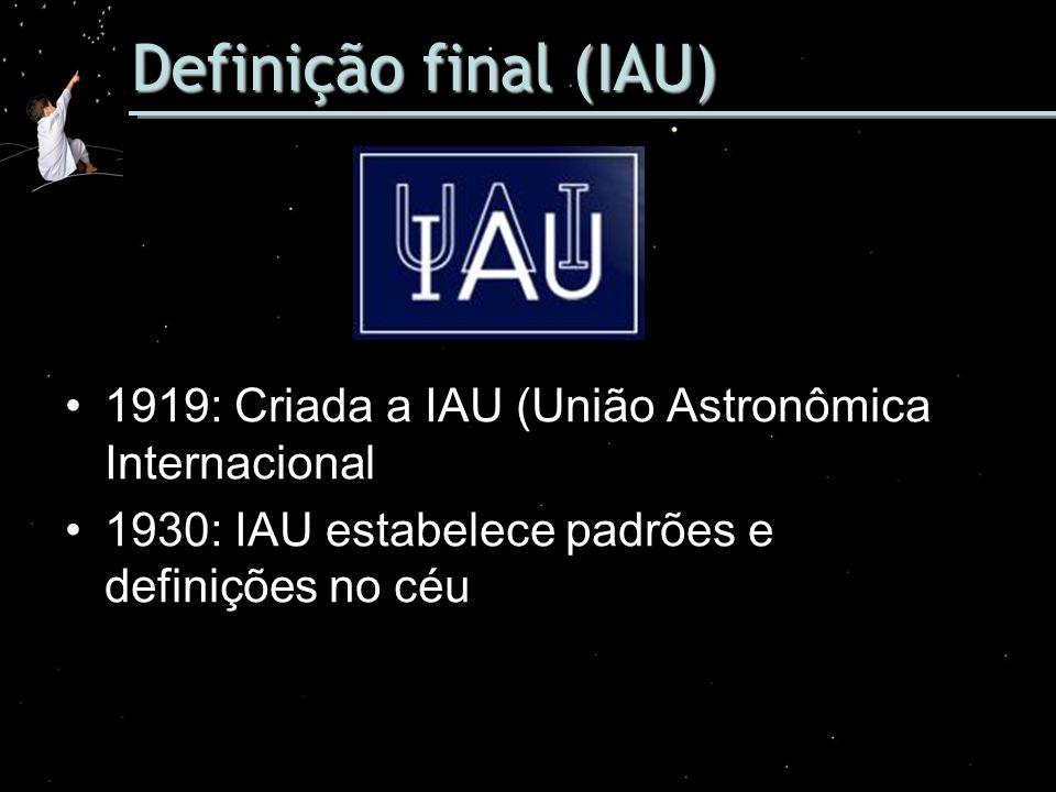 Definição final (IAU) 1919: Criada a IAU (União Astronômica Internacional 1930: IAU estabelece padrões e definições no céu