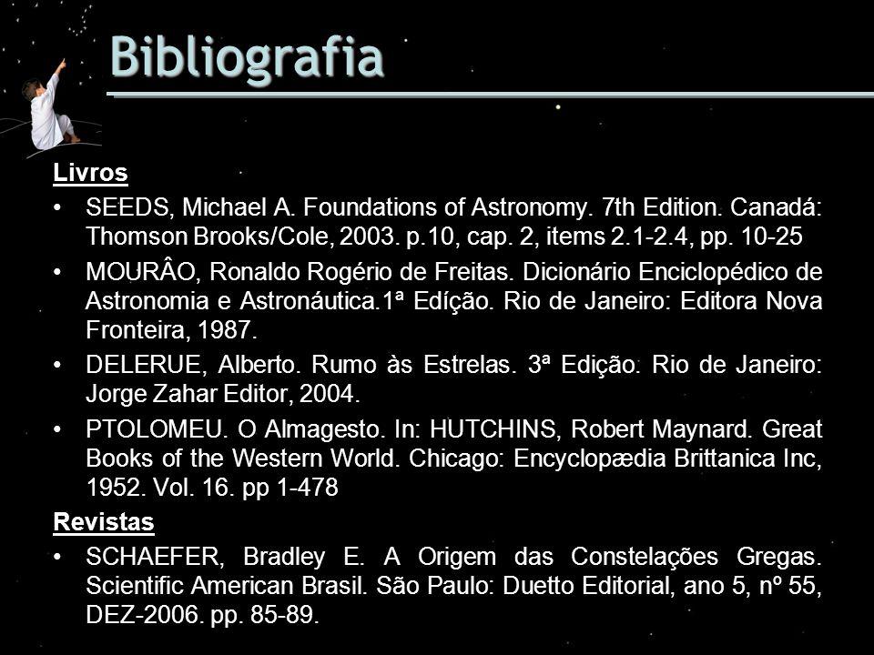 Bibliografia Livros SEEDS, Michael A. Foundations of Astronomy. 7th Edition. Canadá: Thomson Brooks/Cole, 2003. p.10, cap. 2, items 2.1-2.4, pp. 10-25