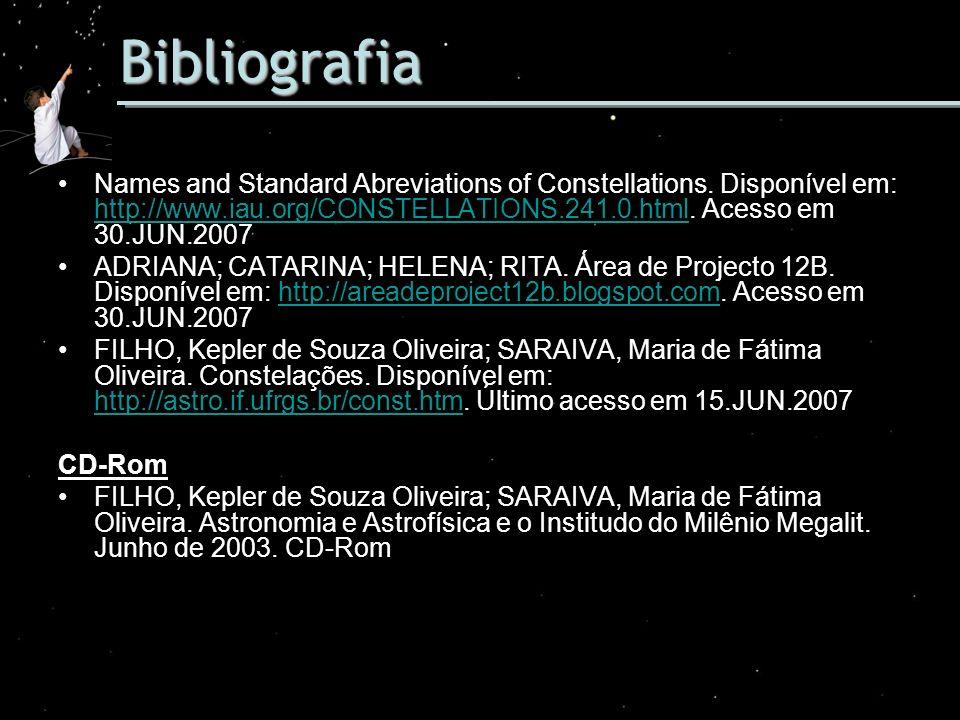 Bibliografia Names and Standard Abreviations of Constellations. Disponível em: http://www.iau.org/CONSTELLATIONS.241.0.html. Acesso em 30.JUN.2007 htt
