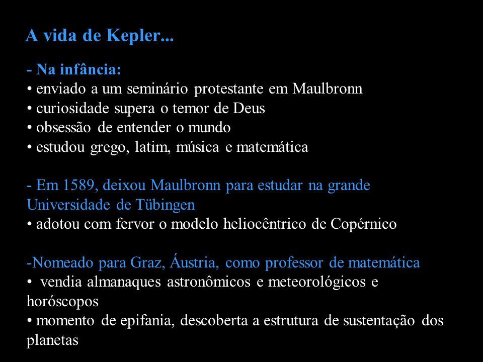 A vida de Kepler... - Na infância: enviado a um seminário protestante em Maulbronn curiosidade supera o temor de Deus obsessão de entender o mundo est
